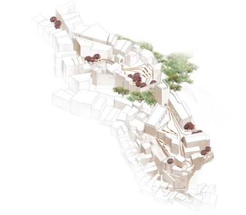 """En el limite de un importante desnivel entre el casco antiguo y la ciudad alta, el castillo recorre el desnivel de manera escalonada, generando una sucesión de miradores y balcones sobre la ciudad, el barranco y las montañas. Ese recinto histórico hace de limite entre el verdor y la frondosidad del parque de Borrunes y del barranco con la trama urbana compacta formada por las calles estrechas del casco antiguo. -Estrategia mineral: recorrido longitudinal norte-sur a través de nuevos espacios públicos generados a partir de lugares existentes dentro del recinto del castillo. Unos """"filamentos"""" proyectados al suelo generan una imagen de conjunto poniendo en valor la arquitectura del lugar. Formalizan la conexión natural entre la ciudad alta y el casco antiguo puntuando el camino por puntos de vista privilegiados sobre la ciudad y el paisaje. -Estrategia vegetal: recorrido transversal este-oeste que conecta lo urbano (castillo y casco antiguo) con el paisaje (parque y barranco)."""